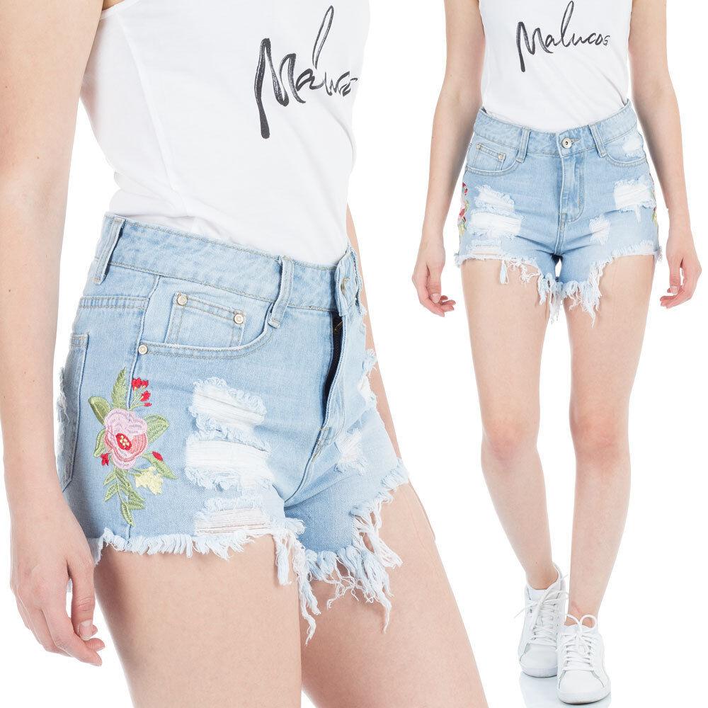 Malucas Damen Jeans Shorts Kurze Hose High Waist Hotpants