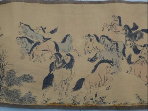 "102/"" Chinese Ancient picture silk paper /""100 horse /"" Scroll painting"