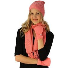Ladies 3pc Winter Soft Knit Beanie Hat Long Scarf Flip Cover Gloves Set Pink S/M