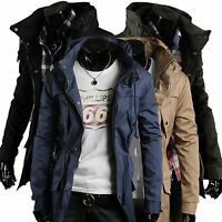 Men Jacket Military Coat Zipper Warm Winter Casual Trench Overcoat Parka Outwear