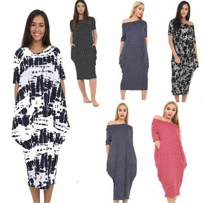Ladies off the shoulder Printed Baggy Midi Oversized Parachute Pocket Dress plus