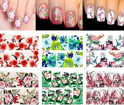 Beautiful Women Flowers Nail Art Nail Decals Water Transfer Stickers Decoration