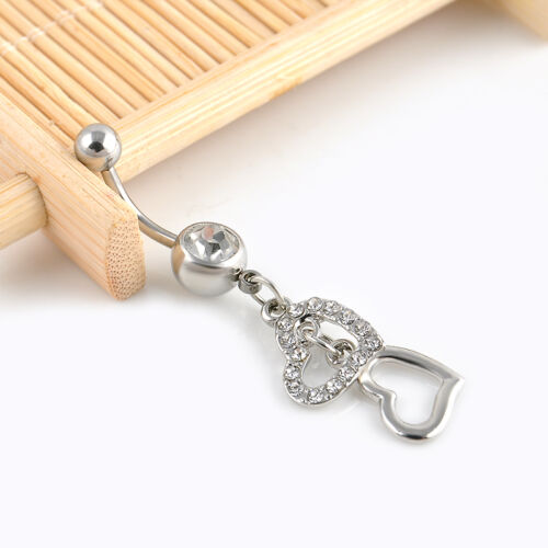 Double Heart Crystal Dangle Belly Button Ring Navel Bar Body Piercing Jewelry