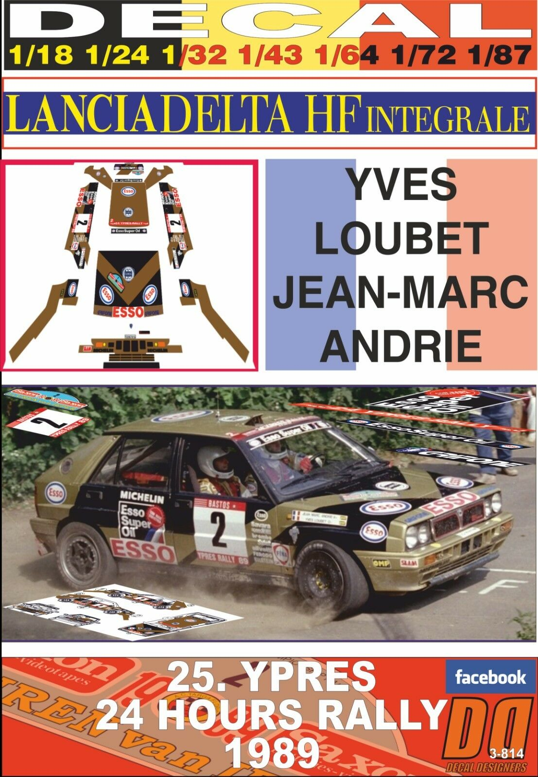 DECAL LANCIA DELTA INTEGRALE .Y.LOUBET YPRES 24 HOURS R. 1989 DnF (04)
