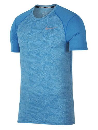 Mens Nike Dri-FIT Breathe Miler Short Sleeve Running T-Shirt 904661-482 Blue $40
