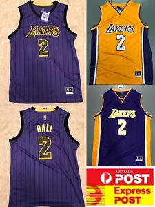 Details about LA Lakers Lonzo Ball jerseys collection, city edition jersey, gold or purple