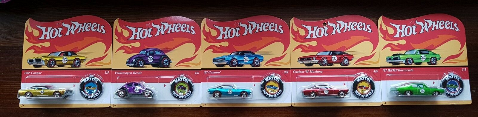 Hot Wheels 50th Anniversary Redlines Series . Mustang VW Beetle Cougar Camaro