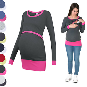 3 in 1 Maternity Sweatshirt Multifunctional Nursing Breastfeeding TUNIC TOP