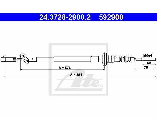 ATE Câble D 'em Brayage Chev / Keaw 24.3728-2900 ATE 24.3728-2900.2