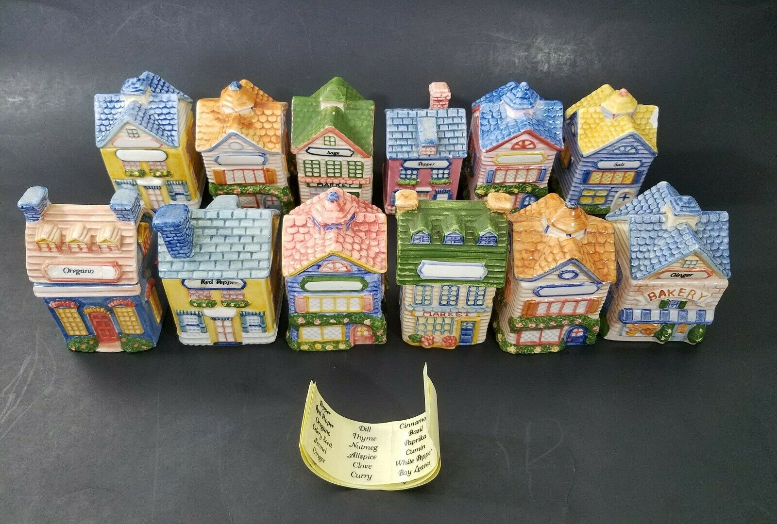 Lot of 12 Vintage Avon Avon Avon House & Building Ceramic Spice Container Holders w Labels 1a440f