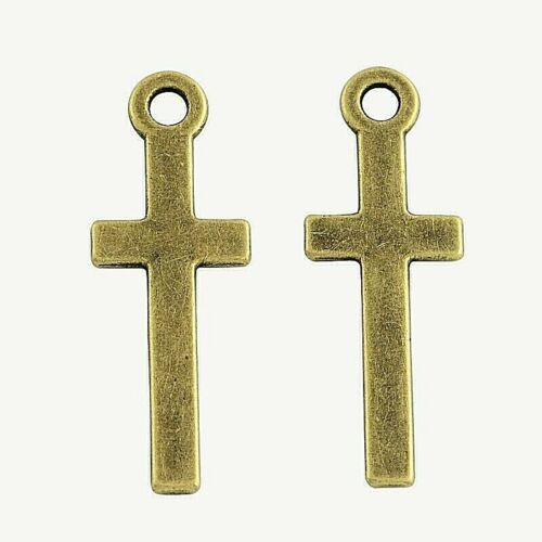 10 Flat Cross Charms 30 x 11 mm Double Sided Antique Bronze Metal US Seller 514