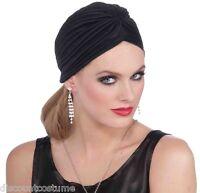 Vintage Hollywood Black Flapper Turban Head Wrap Halloween Costume Accessory