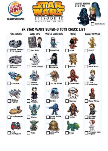 2005 Burger King Star Wars Revenge of the Sith Super-D toys CHOOSE YOUR FIGURE