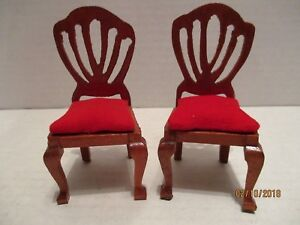 Phenomenal Details About Set Of 2 Handcrafted Miniature Wood Dining Room Chairs Red Velvet Cushions Uwap Interior Chair Design Uwaporg