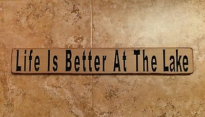 HAND PAINTED CUSTOM COLORS LIFE/'S BETTER AT THE LAKE 2FT WOOD SIGN