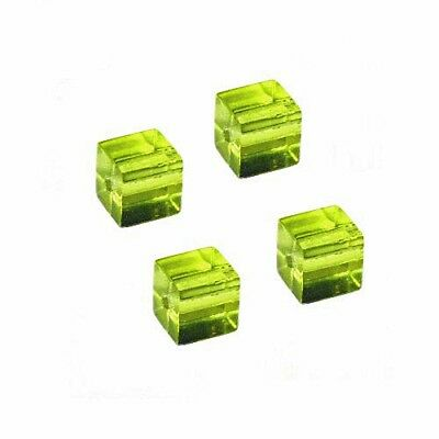 300 5x5mm Cube Square Crystal Glass Faceted Green clear BeadsPeridot Color