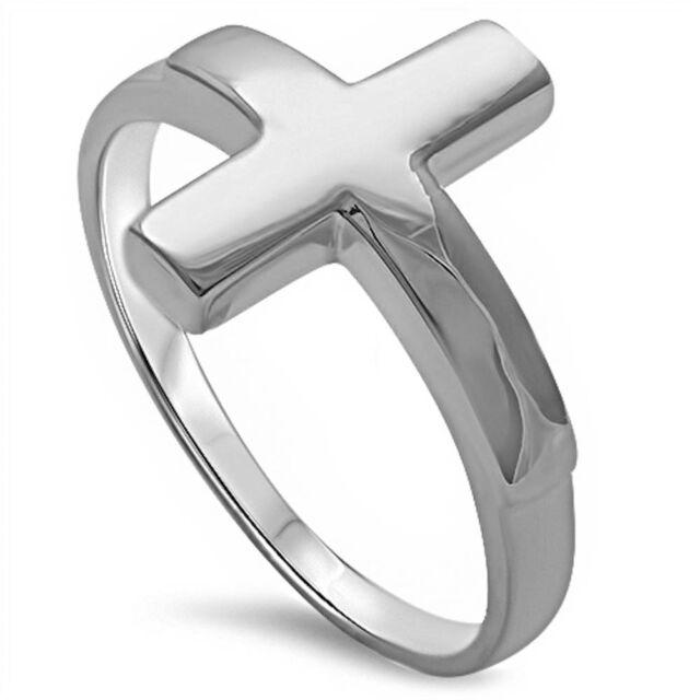 Plain Sideways Cross .925 Sterling Silver Ring Sizes 3-13