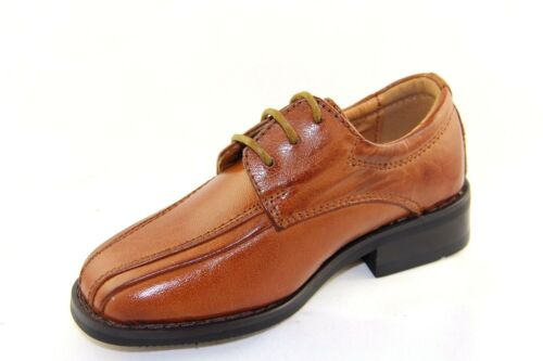La Milano Boy/'s Tan Leather Oxford Dress Shoes Style# AT922012