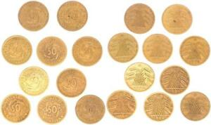 Weimar 10 x 50 Pension Penny 1924 A Lot (3) VF / Vf-Xf