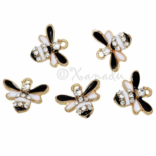 Bumble Bee Rhinestone Wholesale Gold Plated Charm Pendants C3162 - 3, 5 Or 10PCs