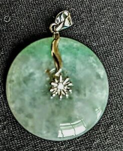 Jadeite-Open-Circle-1-034-Sterling-Silver-Pendant-Flower-Cubic-Zirconia-Burmese
