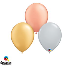 """Packs of 10 Gold 50 or 100 Silver /& Rose Gold 5/"""" Latex Balloons 25"""