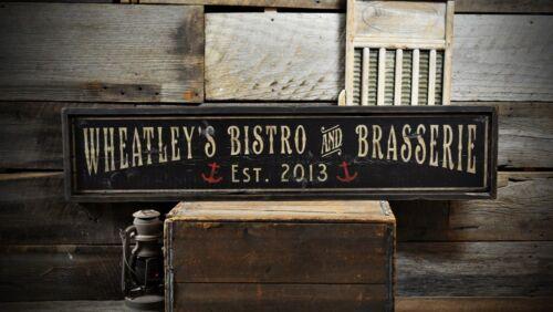 Custom Bistro /& Brasserie Sign Rustic Hand Made Vintage Wooden ENS1000686