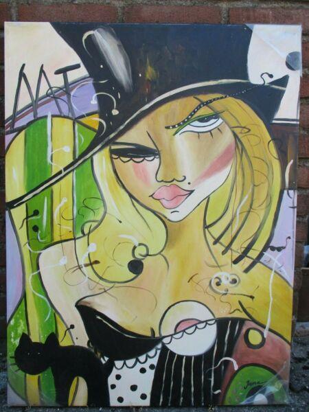 Marca Popular Pintura Al Óleo , Mujer Con Sombrero Sombrero, Bellamente Pintado, 60cm X 80cm, Venta Caliente 50-70% De Descuento