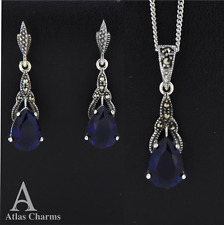 Set Marcasite Blue Sapphire Earrings Pendant Necklace Sterling Silver  jewelry