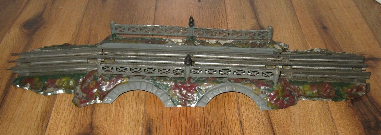 Antique Prewar Ives Tin Rustic O Gauge Bridge Rare Vintage Train Double Arch