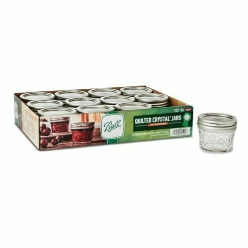Ball Mason Quilted Crystal Jars Regular Mouth 12 pk 4 oz Canning Jelly 1//4 Pint