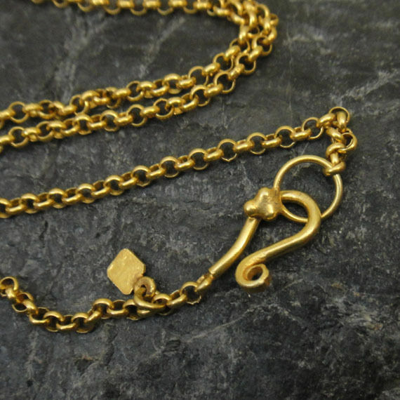 Handmade Ancient style Pendant Chain 22K Gold  Over 925K Sterling Silver