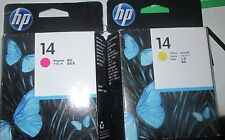 Set of 2 Genuine HP #14 C4922A,C4923A MAGENTA,YELLOW Printheads NEW!