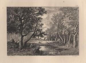 Narcisse-Diaz-Paysage-Mare-a-la-vallee-de-LA-Sole-Eau-Forte-Gustave-Greux-XIXe