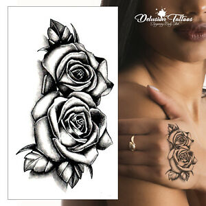 Twin-Roses-Temporary-Tattoo-Black-Shading-3D-Waterproof-Small-Womens-Mens-Kids