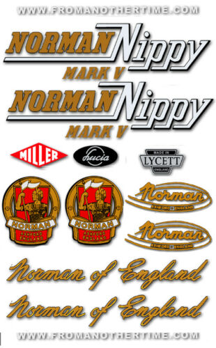 RESTORERS DECAL SETS Norman Nippy Variations for all Models 1955-62