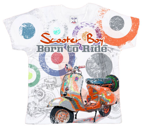 "DF Baby T-Shirt All Over Print /""Scooter Boy Born to Ride/"" Mod Lambretta Vespa"