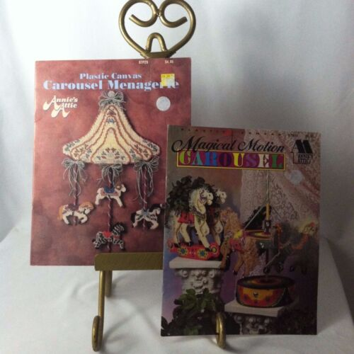 Lot2 Vtg 19901994 Annie's Attic Carousel Plastic Canvas Magical Motion Menager
