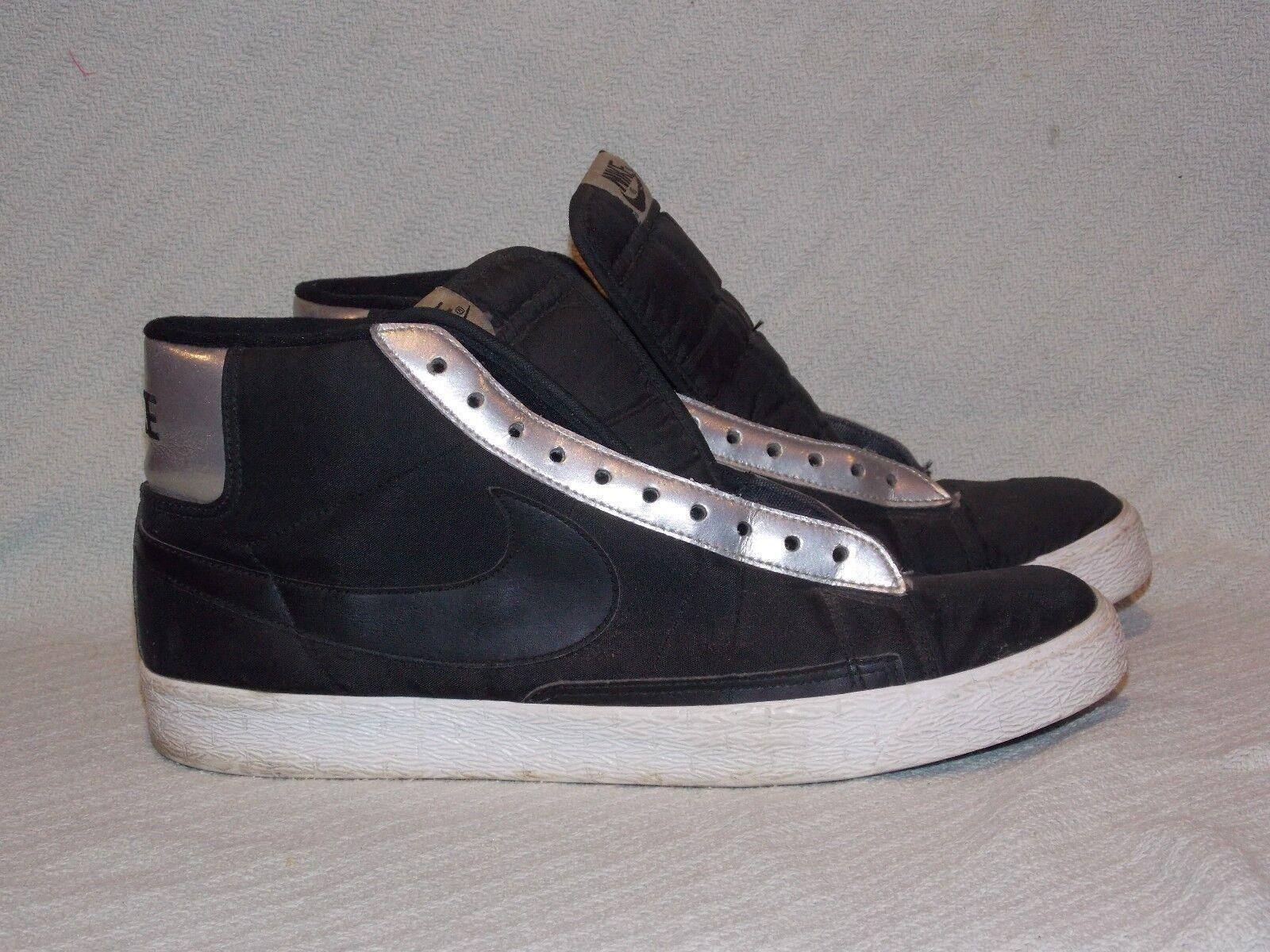 Men's Size 11 NIKE BLAZER Black Metallic Silver White 315877-008 Basketball shoes