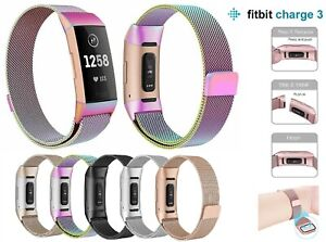 For-Fitbit-Charge-3-Strap-Replacement-Milanese-Band-Stainless-Steel-Magnet-UK