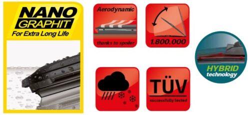 SAAB 9-3 2007-12 HYBRID windscreen WIPER BLADES 24/'/'23/'/'PT NEW set of 2