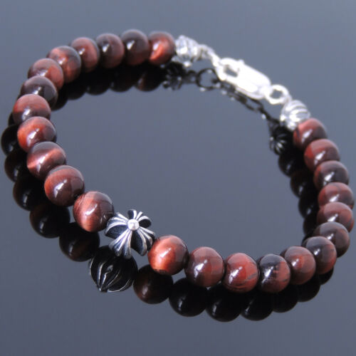 Red Tiger Eye Sterling Silver Bracelet Mens Women Gemstone Cross DIY-KAREN 496