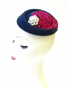 244cbd2611b Navy Blue Hot Pink Black Feather Pillbox Hat Fascinator Races ...