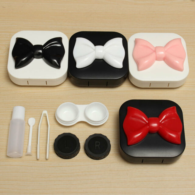 Square Cute Bowknot Travel Contact Lens Case Holder Box w/ Mirror Eye Care Kit