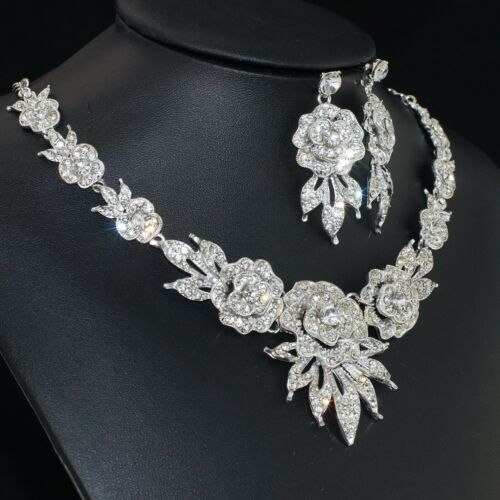 YT274 Clear Rhinestone Crystal Alloy Flowers Earrings Necklace Set Bridal Gift