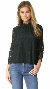 Joie-Dark-Green-Lace-Button-Back-High-Neck-Freyda-Top-Blouse-SZ-S