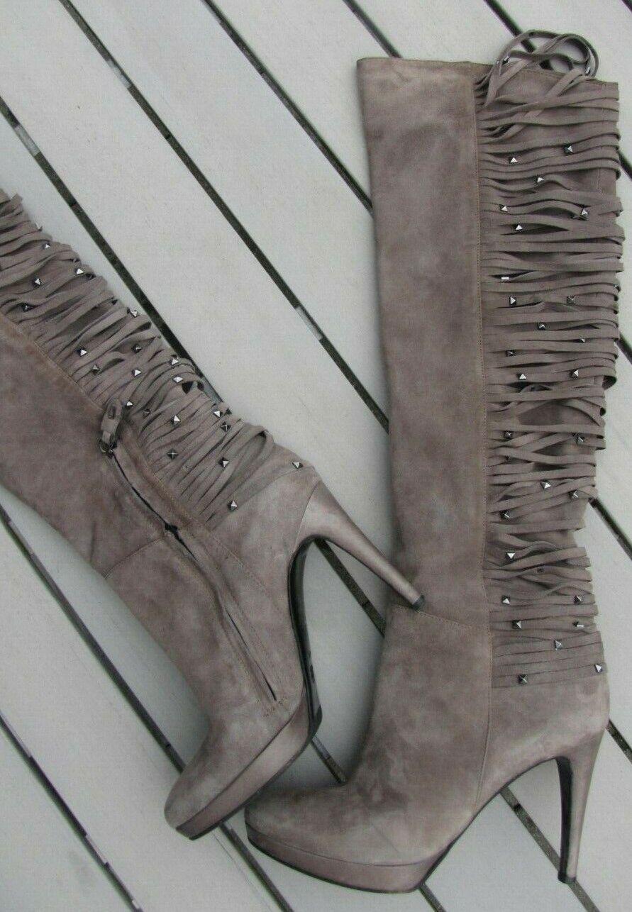 Sexy Wildleder Stiefel Overknees High heels  NavyStiefel  Grau Größe 41 TOPZUSTAND