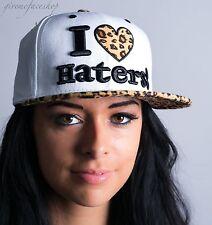 I Love Haters Snapback Coperchi, Leopardo in Velluto Uomo, Donna Piatto Picco Baseball Cappelli