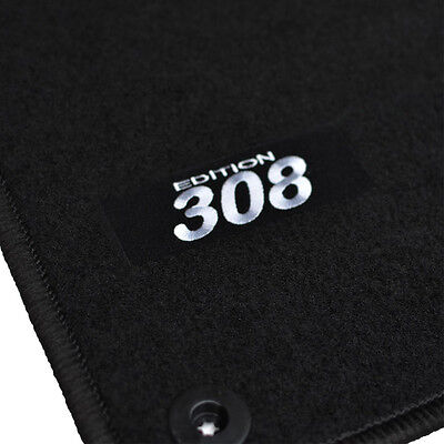 4 TAPIS SOL PEUGEOT 308 2 FELINE SPORTIUM STYLE MOQUETTE LOGO ROUGE SPECIFIQUE