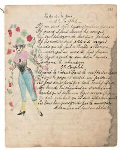 1906-military-soldier-manuscript-lyrics-LET-ME-CRY-sexy-drawing